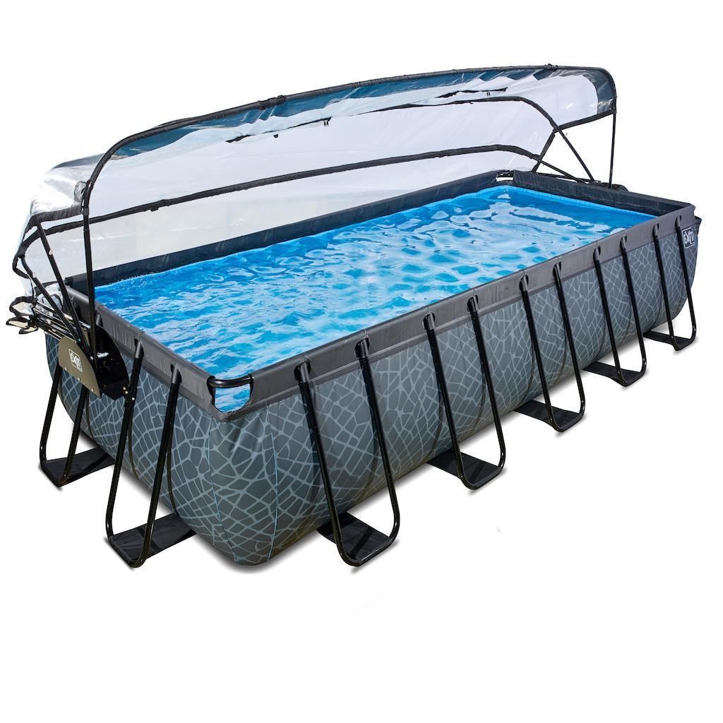 EXIT Stone zwembad 540x250x100cm met overkapping en zandfilter- en warmtepomp - grijs