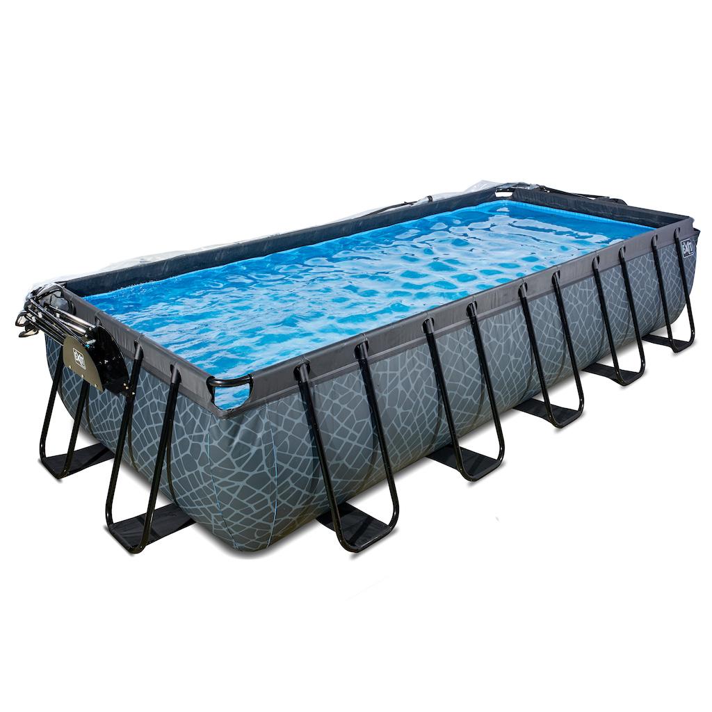 EXIT Stone piscine 540x250x100cm avec couvercle et filtre à sable et pompe à chaleur - gris