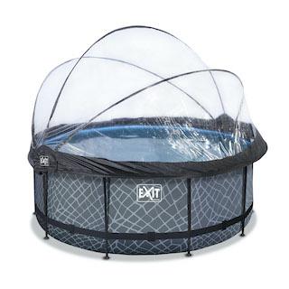 EXIT Stone zwembad ø360x122cm met overkapping en zandfilter- en warmtepomp - grijs