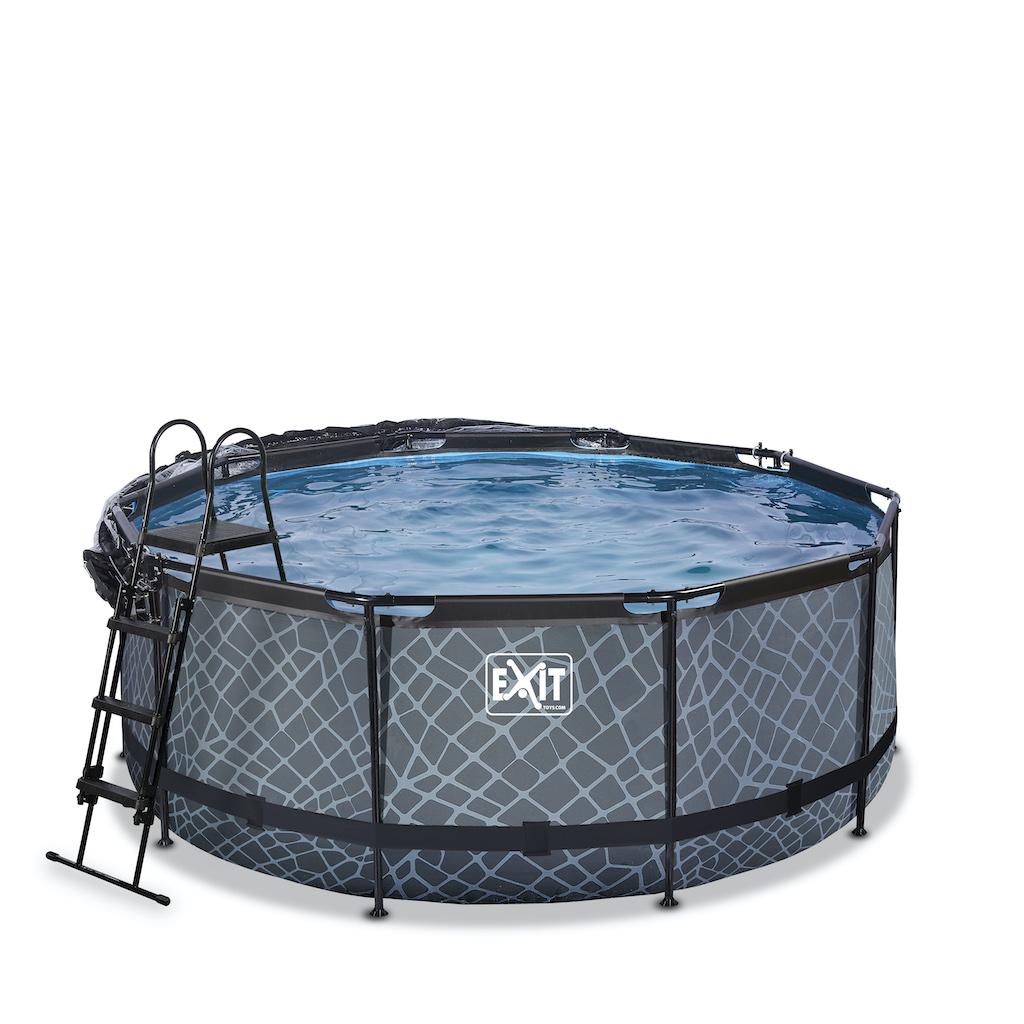 EXIT Stone piscine ø360x122cm avec auvent et filtre à sable et pompe à chaleur - gris