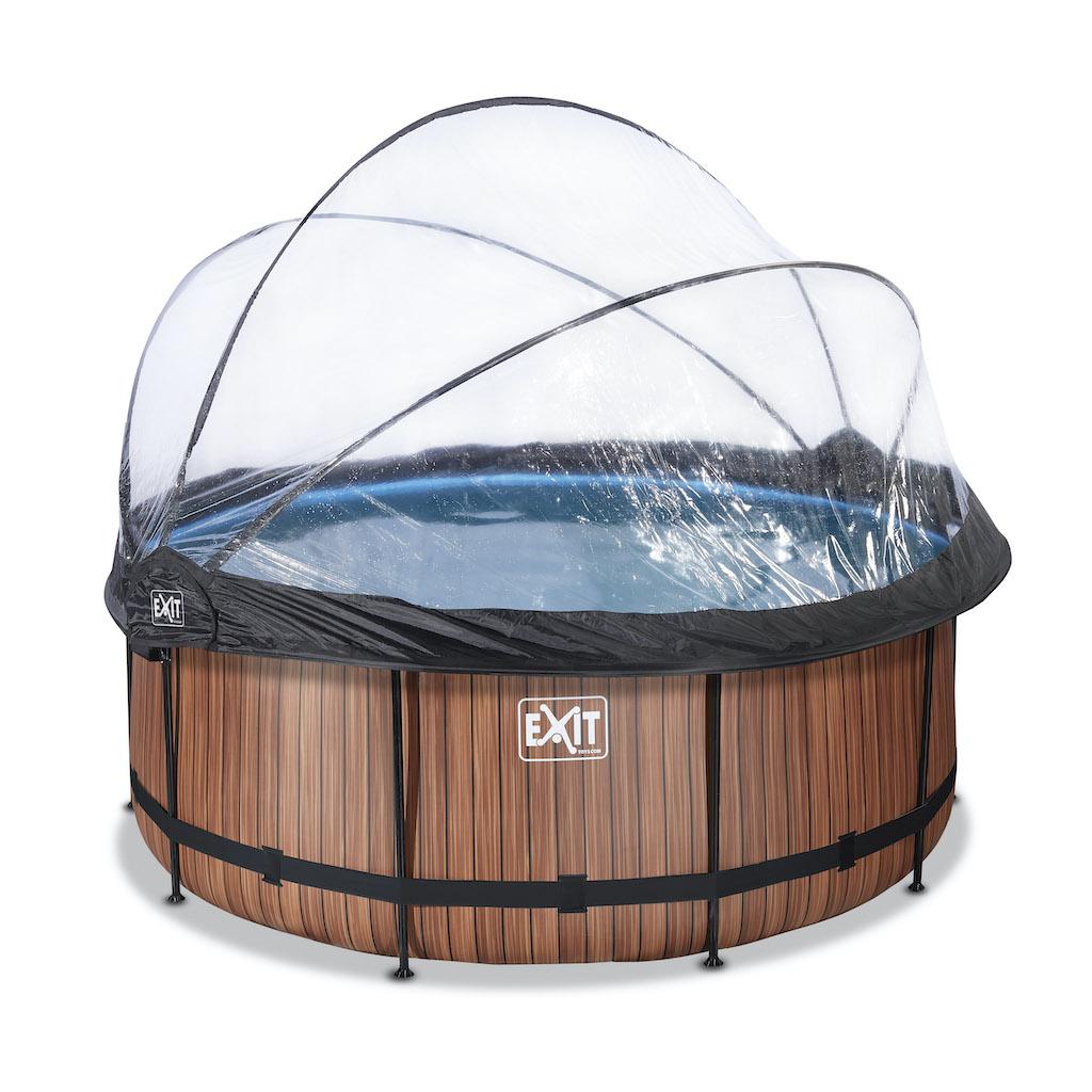 EXIT Wood zwembad ø360x122cm met overkapping en zandfilter- en warmtepomp - bruin