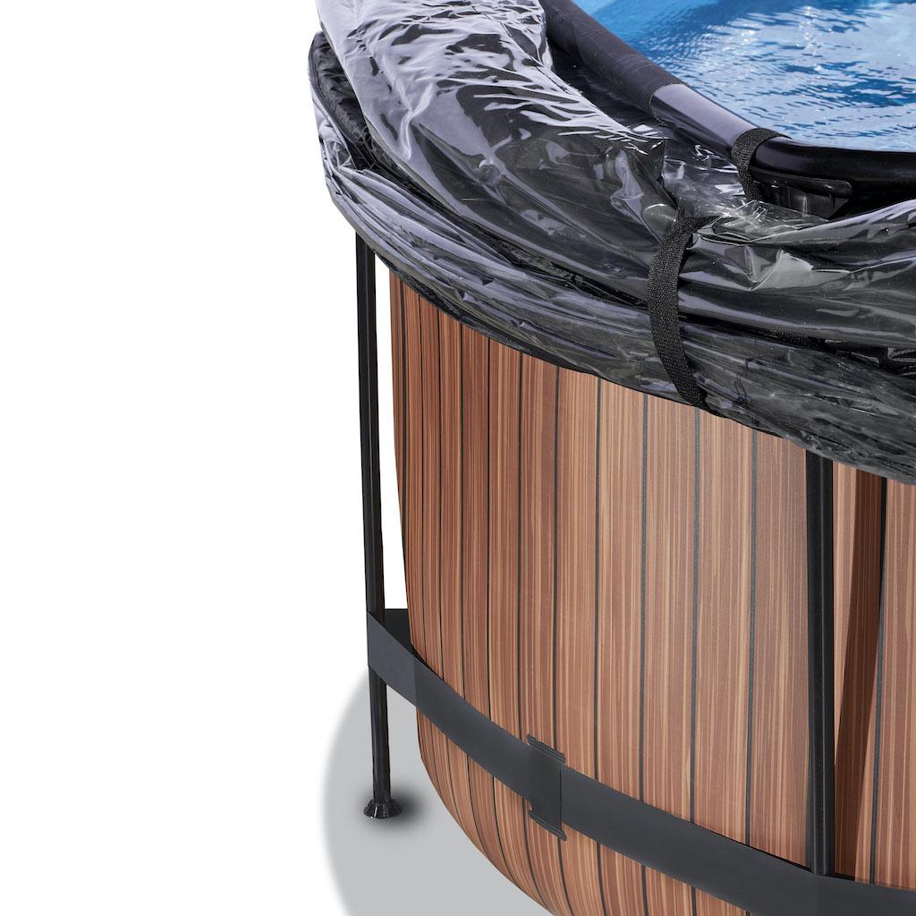 EXIT Piscine bois ø360x122cm avec couvercle et filtre à sable et pompe à chaleur - marron