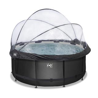 EXIT Black Leather zwembad ø360x122cm met overkapping en zandfilter- en warmtepomp - zwart