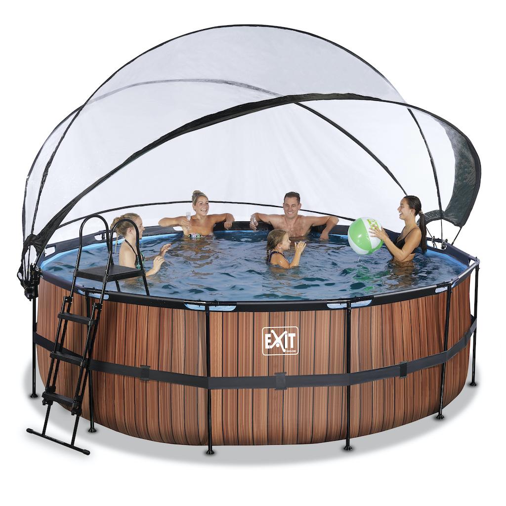 EXIT Wood zwembad ø427x122cm met overkapping en zandfilter- en warmtepomp - bruin