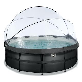 EXIT Black Leather zwembad ø427x122cm met overkapping en zandfilter- en warmtepomp - zwart
