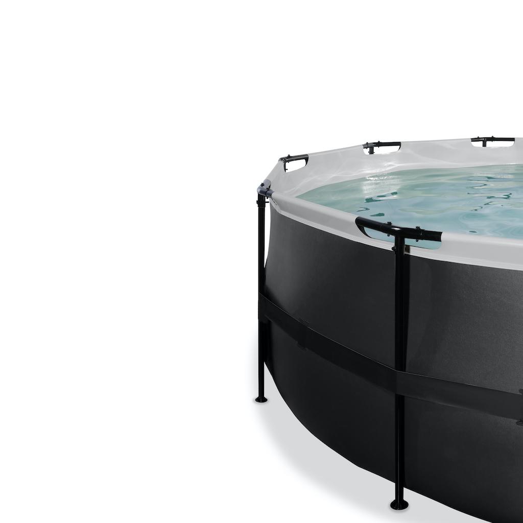 EXIT Piscine en cuir noir ø427x122cm avec couvercle et filtre à sable et pompe à chaleur - noir