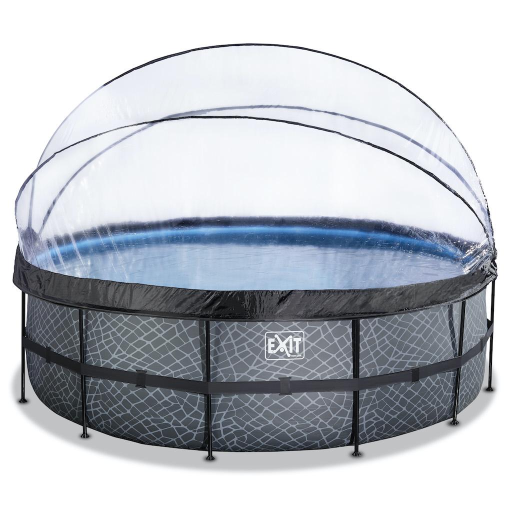 EXIT Stone zwembad ø450x122cm met overkapping en zandfilter- en warmtepomp - grijs