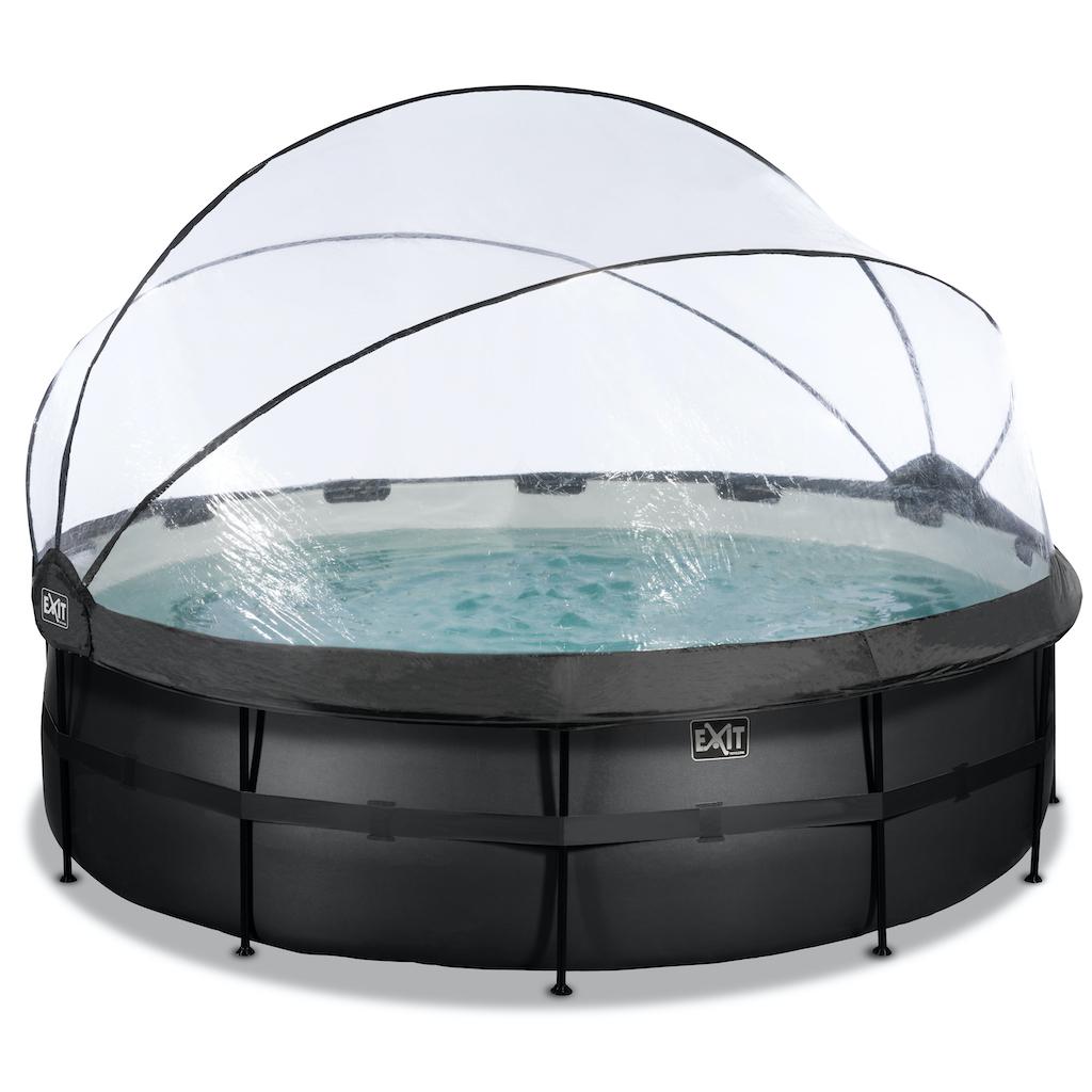 EXIT Black Leather zwembad ø450x122cm met overkapping en zandfilter- en warmtepomp - zwart