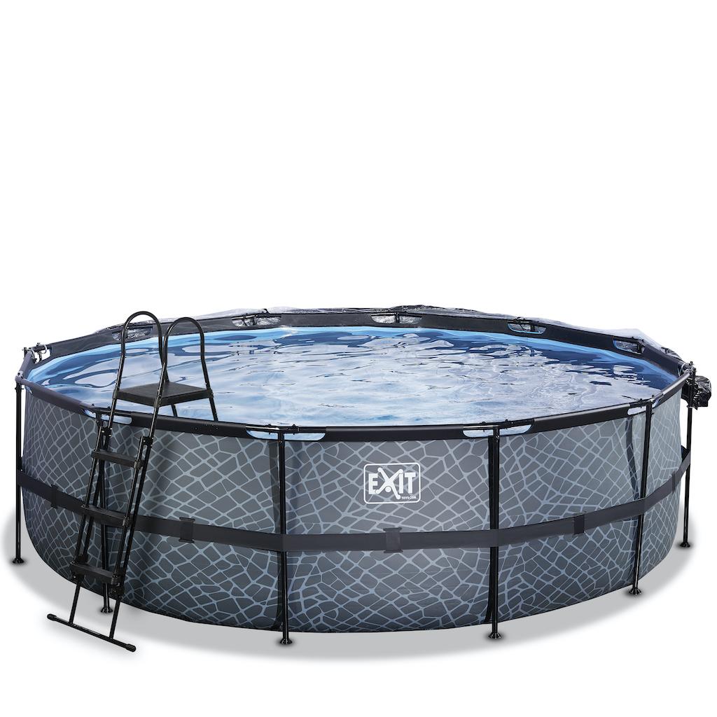 EXIT Stone zwembad ø488x122cm met overkapping en zandfilter- en warmtepomp - grijs