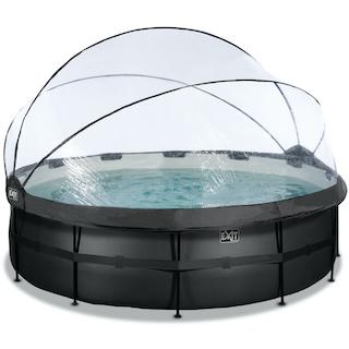 EXIT Black Leather zwembad ø488x122cm met overkapping en zandfilter- en warmtepomp - zwart