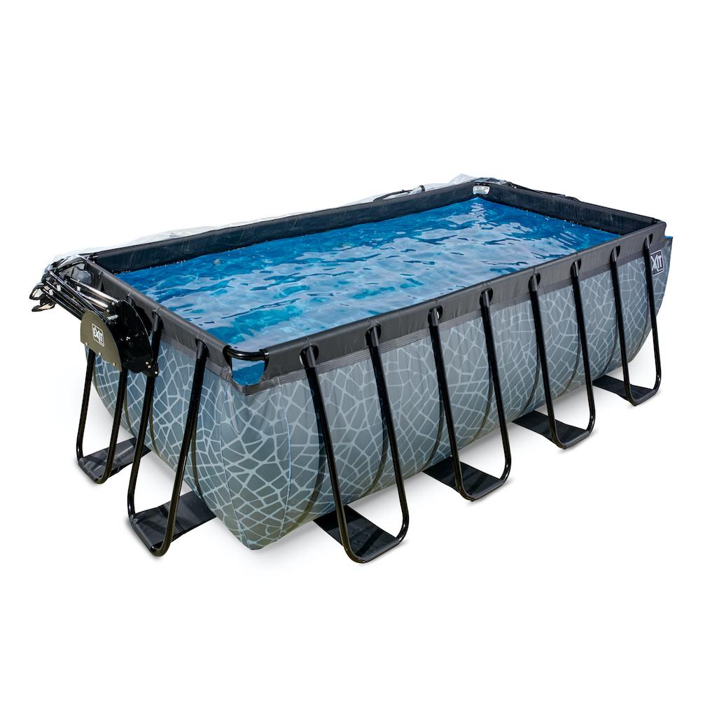 EXIT Stone zwembad 400x200x122cm met overkapping en zandfilter- en warmtepomp - grijs