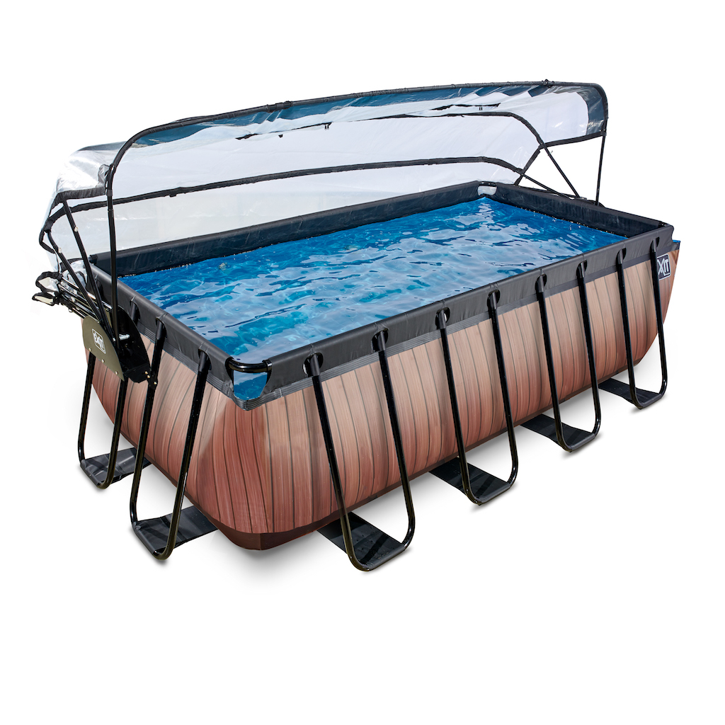EXIT Wood zwembad 400x200x122cm met overkapping en zandfilter- en warmtepomp - bruin