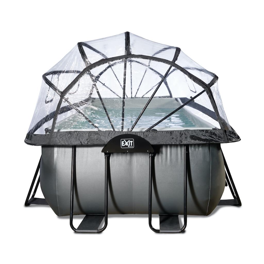 EXIT Black Leather zwembad 400x200x122cm met overkapping en zandfilter- en warmtepomp - zwart