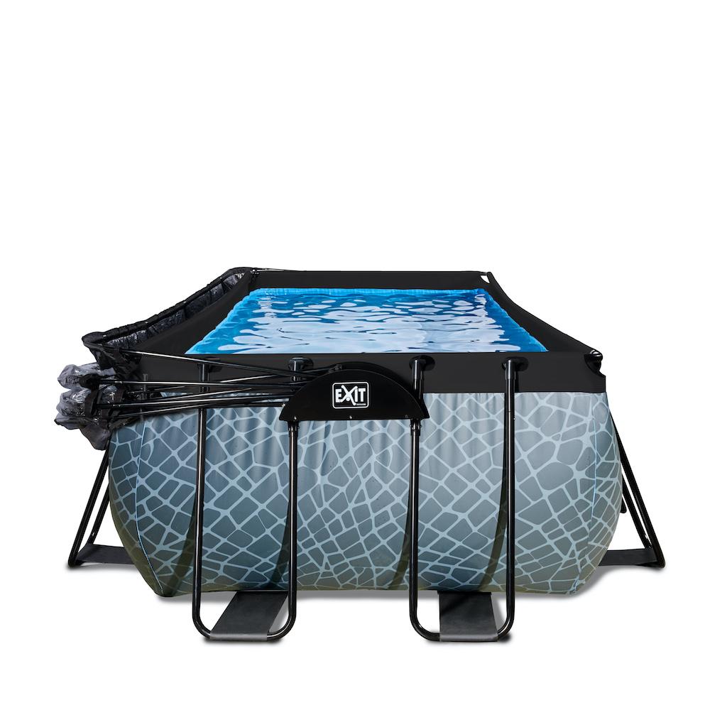 EXIT Stone piscine 540x250x122cm avec couvercle et filtre à sable et pompe à chaleur - gris