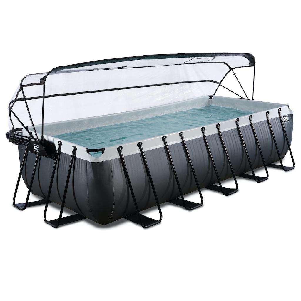 EXIT Black Leather zwembad 540x250x122cm met overkapping en zandfilter- en warmtepomp - zwart