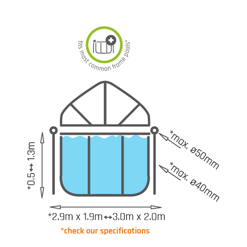 Toile d'ombrage de piscine EXIT 300x200cm