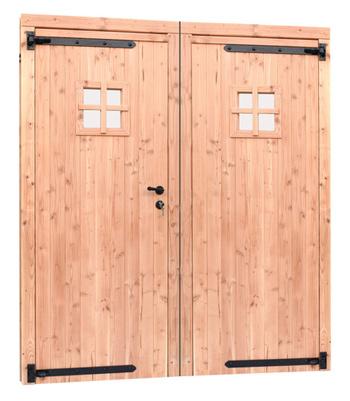 <BIG><B>Douglas dubbele dichte deur inclusief kozijn. 169 x 201,5 cm, onbehandeld.</B></BIG>