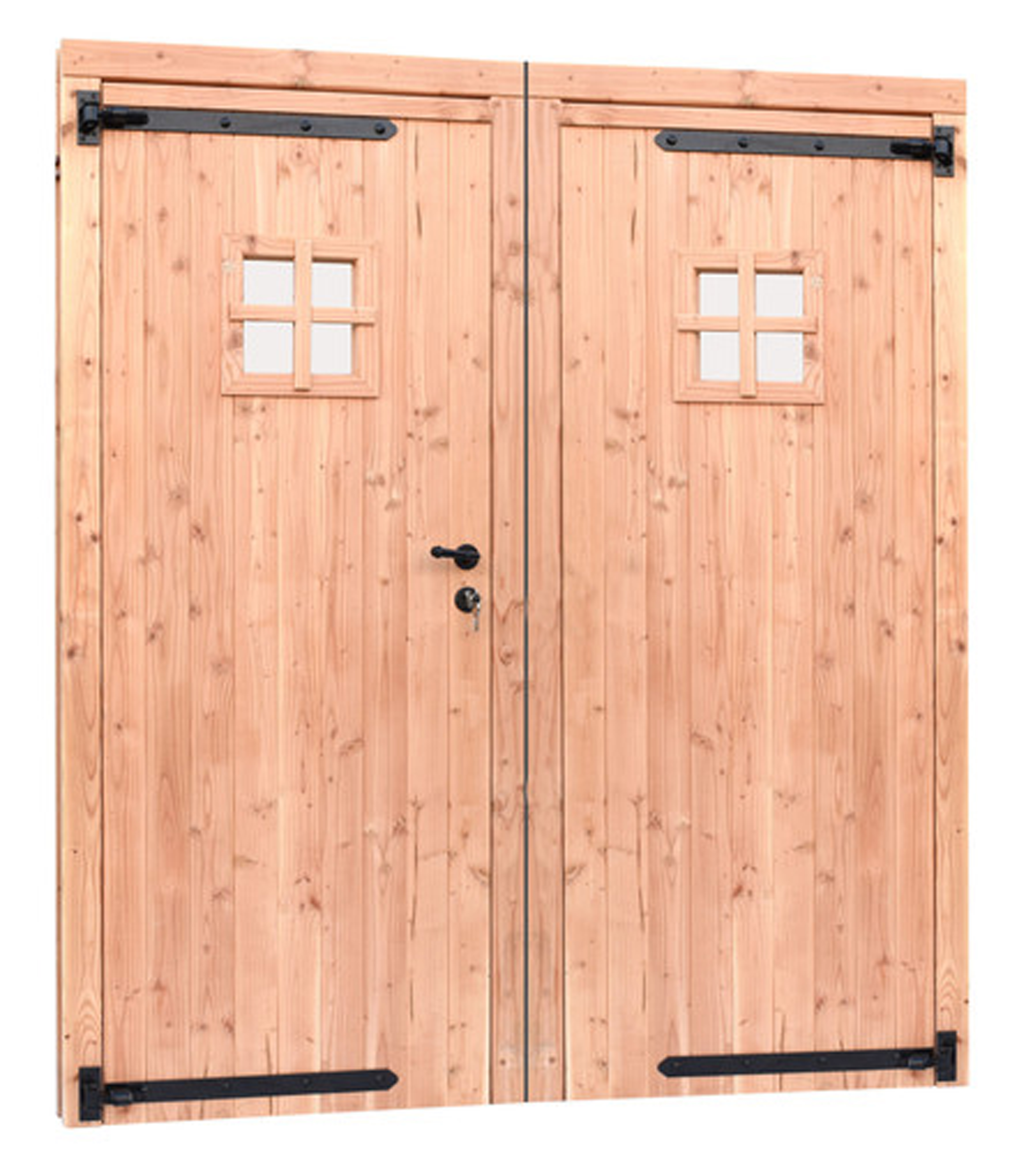 <BIG><B>Douglas dubbele  1-ruits deur inclusief kozijn. 169 x 201,5 cm, onbehandeld.</B></BIG>