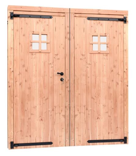 <BIG> <B> Double porte 1 vitre Douglas avec cadre. 169 x 201,5 cm, non trait&eacute;. </B> </BIG>