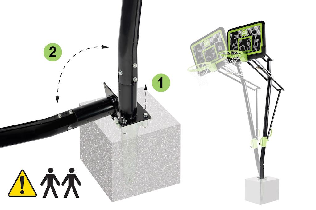 Panneau arrière de basket-ball à montage au sol EXIT Galaxy avec anneau dunk - édition noire