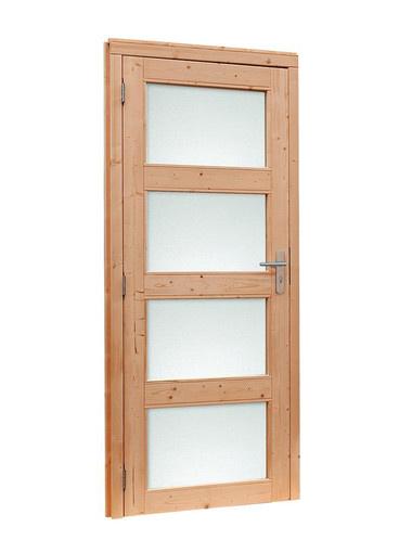 <BIG> <B> Porte simple Douglas &agrave; 4 panneaux dans le sens antihoraire avec cadre. 91 x 201,5 cm, non trait&eacute;. </B> </BIG>