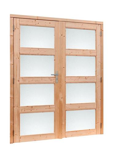 <BIG><B>Douglas dubbele 4-ruits deur inclusief kozijn. 169 x 201,5 cm, onbehandeld.</B></BIG>