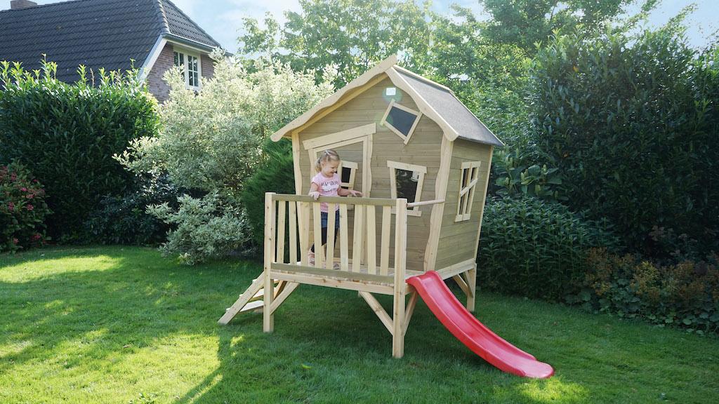 EXIT Crooky 300 houten speelhuis - grijsbeige