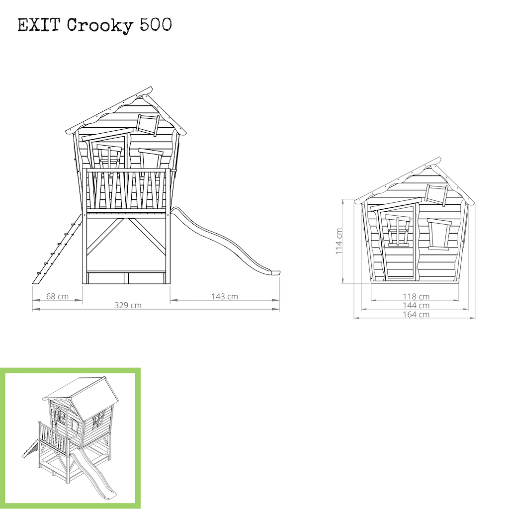 EXIT Crooky 500 houten speelhuis - grijsbeige