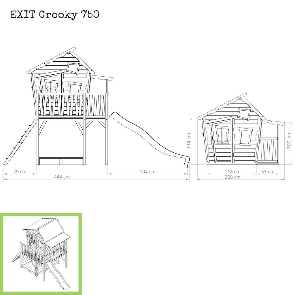 EXIT Crooky 750 houten speelhuis - grijsbeige