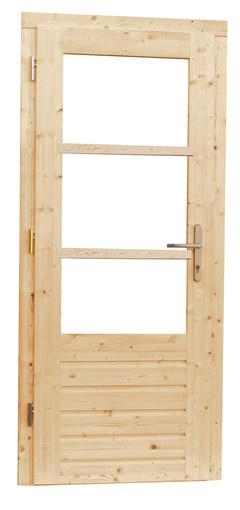 <BIG> <B> Porte simple à 3 volets + serrure à 5 points, double vitrage, non traitée </B> </BIG>