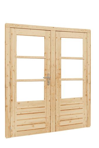 <BIG><B>Vuren dubbele glasdeur 3-ruits, inclusief kozijn + 5-puntssluiting, dubbel glas, onbehandeld</B></BIG>