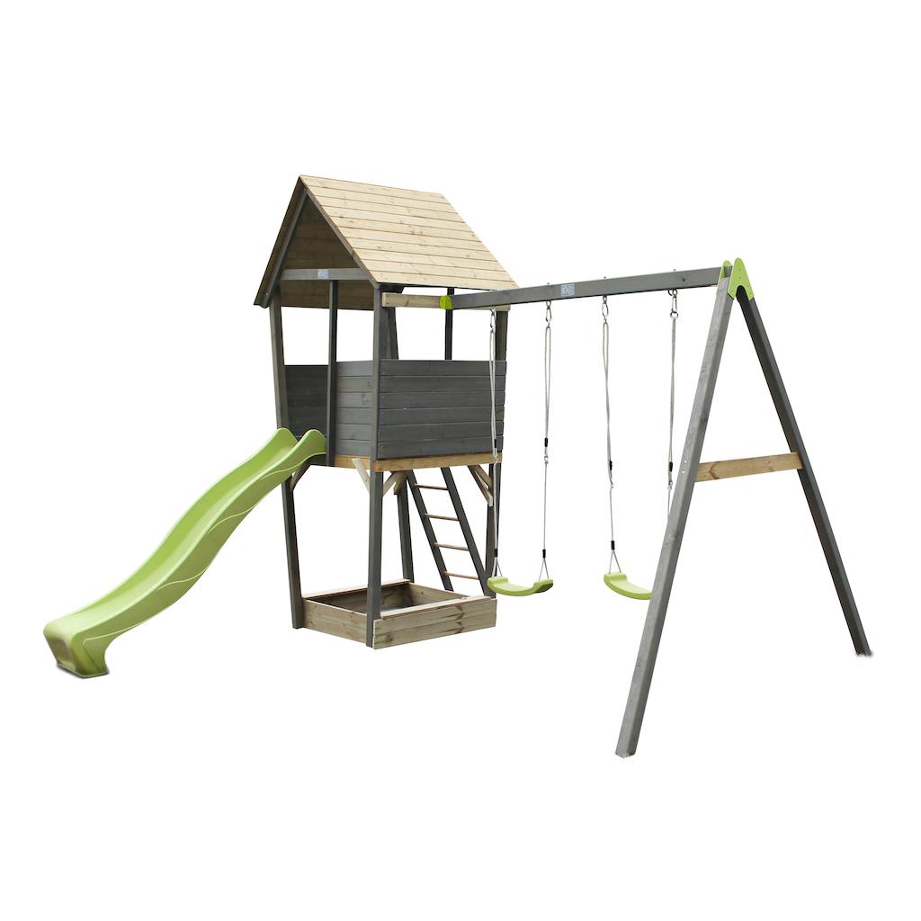 EXIT Aksent houten speeltoren met 2-zits schommel  - grijs