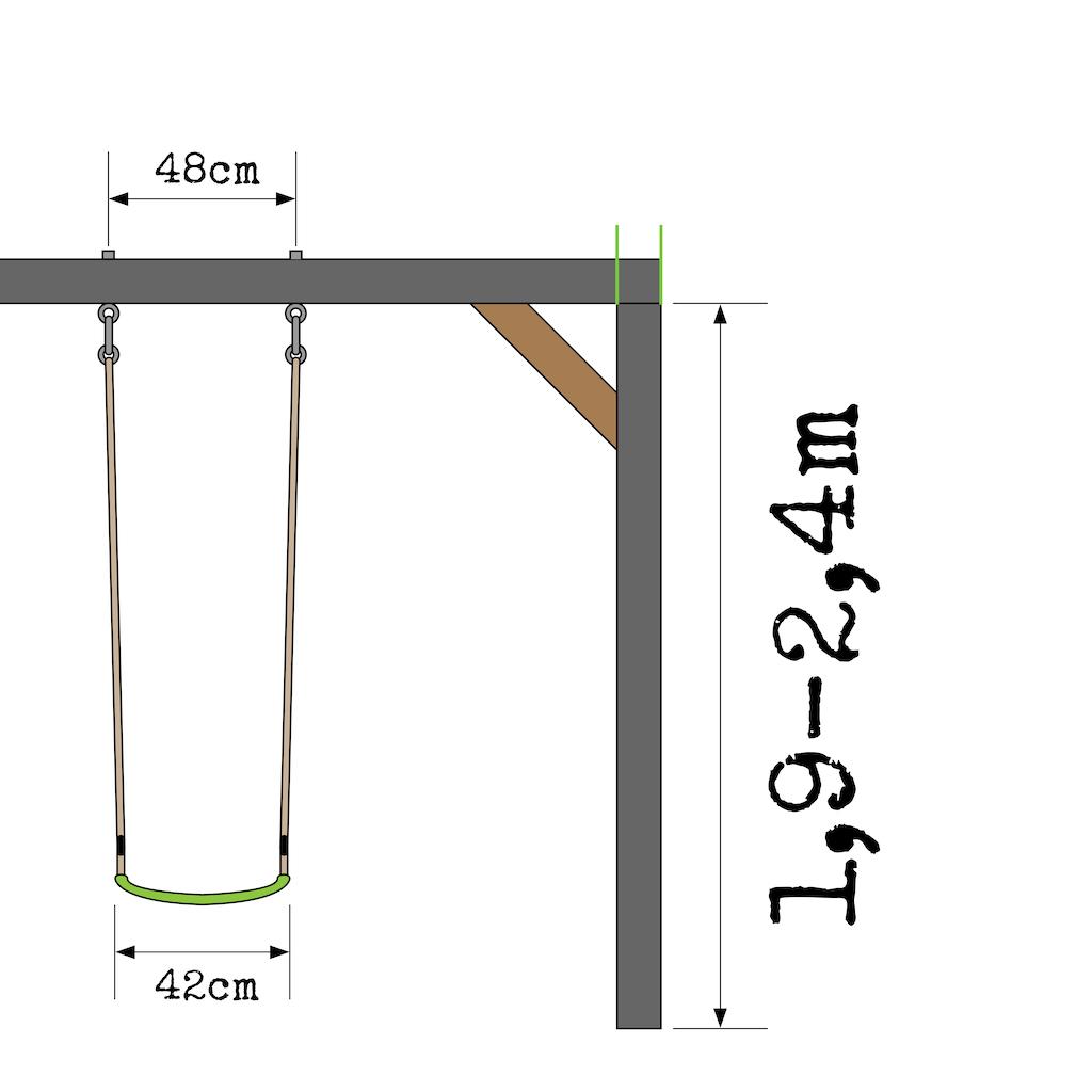 EXIT Aksent houten speeltoren met 1-zits schommel  - grijs