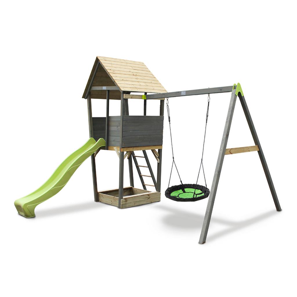 EXIT Tour de jeu en bois Aksent avec balan�oire en nid - gris