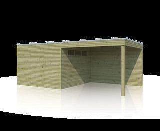 Cabane en bois  avec auvent | BS | 600 x 300 cm