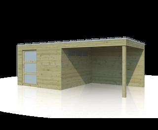 Blokhut met luifel | QBS | 600 x 300 cm | E-woodproducts