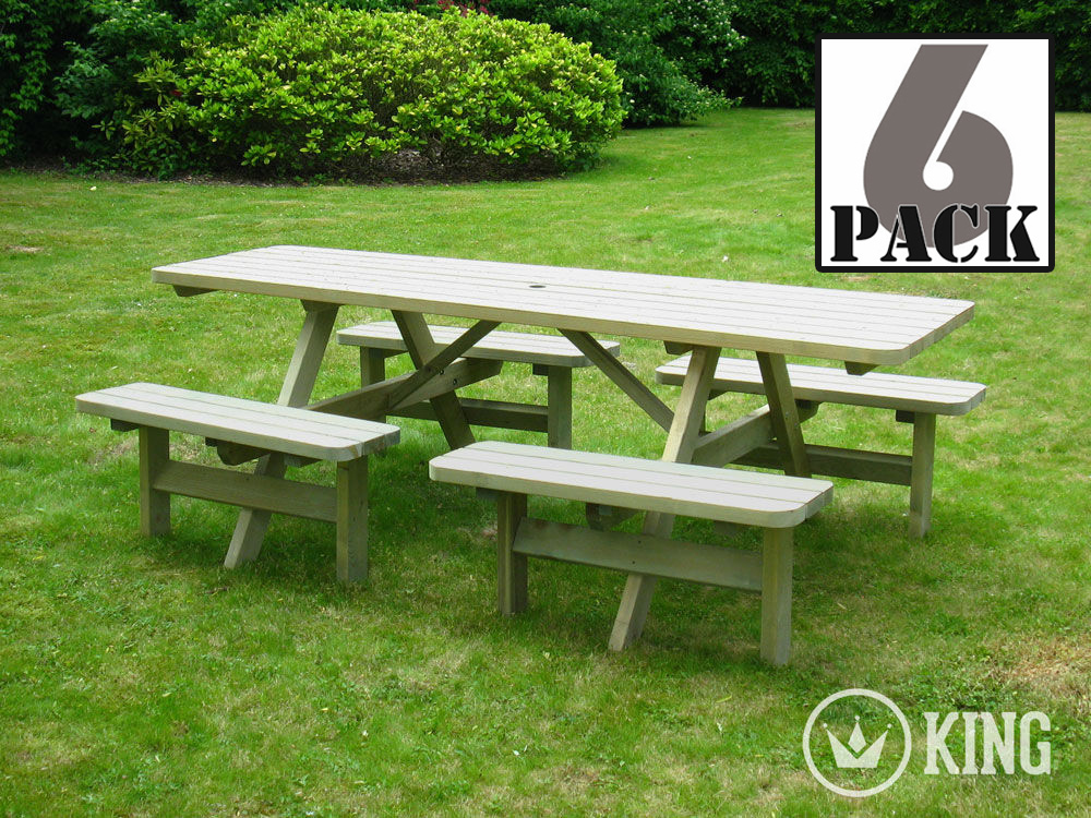 <BIG><B>KING &#174; PICKNICKTAFEL COMFORT 240 cm / 4 cm dikte (6-PACK)</B></BIG>