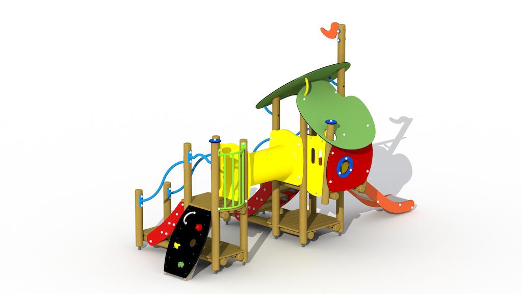 Le loup et les sept enfants (toboggan et tunnel en acier inoxydable)