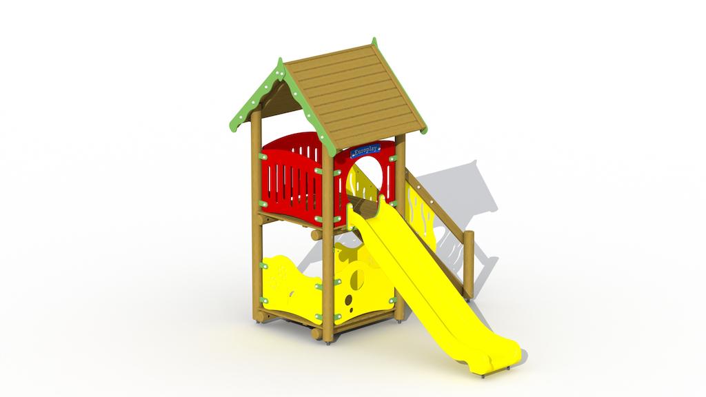 Slide G300 + équipement de jeux en bois pour mur de remplissage