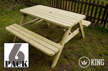 <BIG><B>KING ® PICKNICKTAFEL 140 cm / 4cm dikte (6-PACK)</B></BIG>