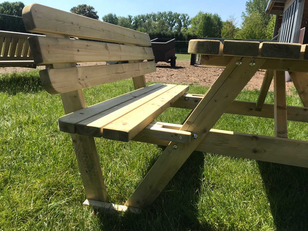 140 cm / 4 cm dicker Picknicktisch mit Rückenlehnen