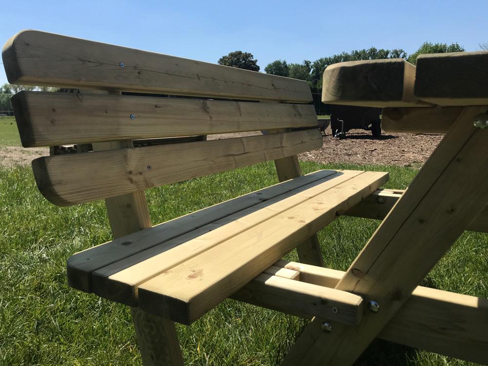 140 cm Picknicktisch mit Rückenlehnen, 6 Tische / 4 cm dick mit Rückenlehnen