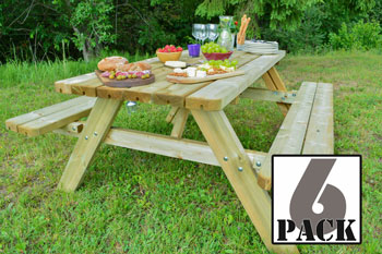 <BIG><B>6-PACK KING PLUS ® PICKNICKTAFEL 177 cm / 4,2 cm dikte</B></BIG>