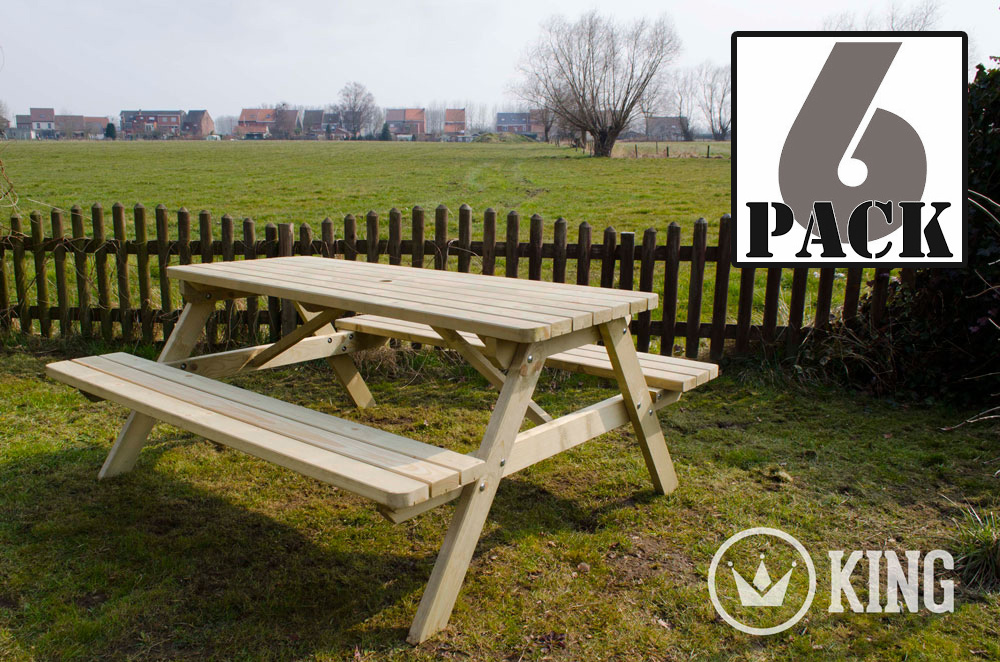 <BIG><B>ROYAL KING &#174; Picknicktafel 200 cm / 4.5 cm dikte (6-PACK)</B></BIG>