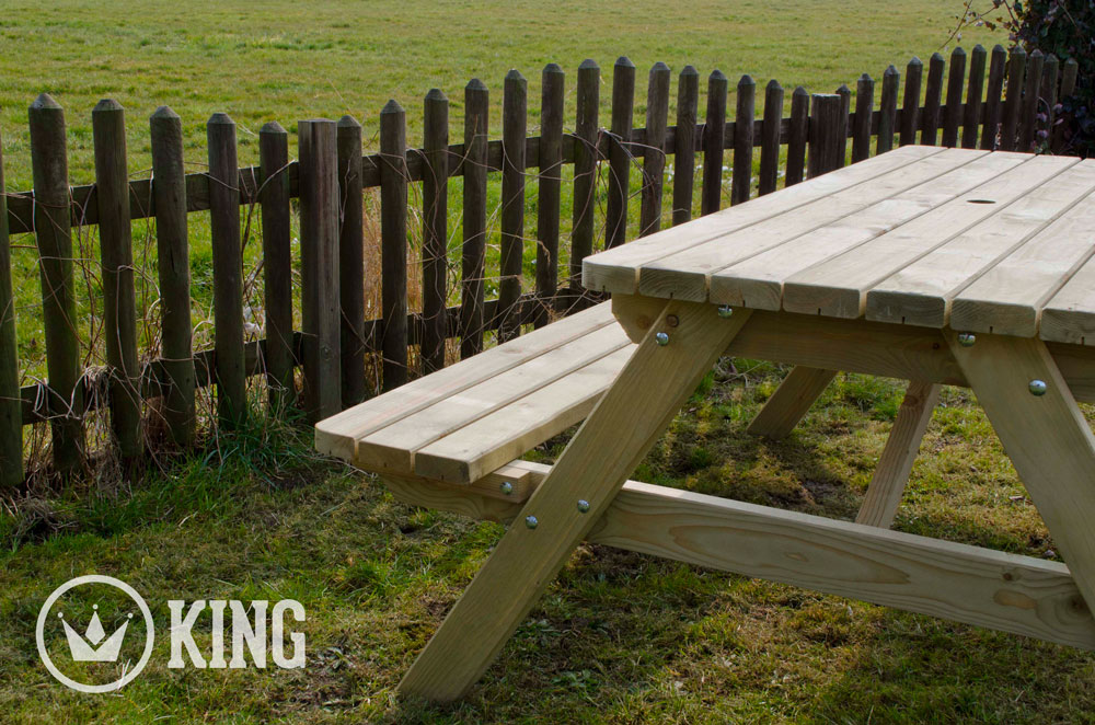 <BIG><B>ROYAL KING ® Picknicktafel 200 cm / 4.5 cm dikte</B></BIG>
