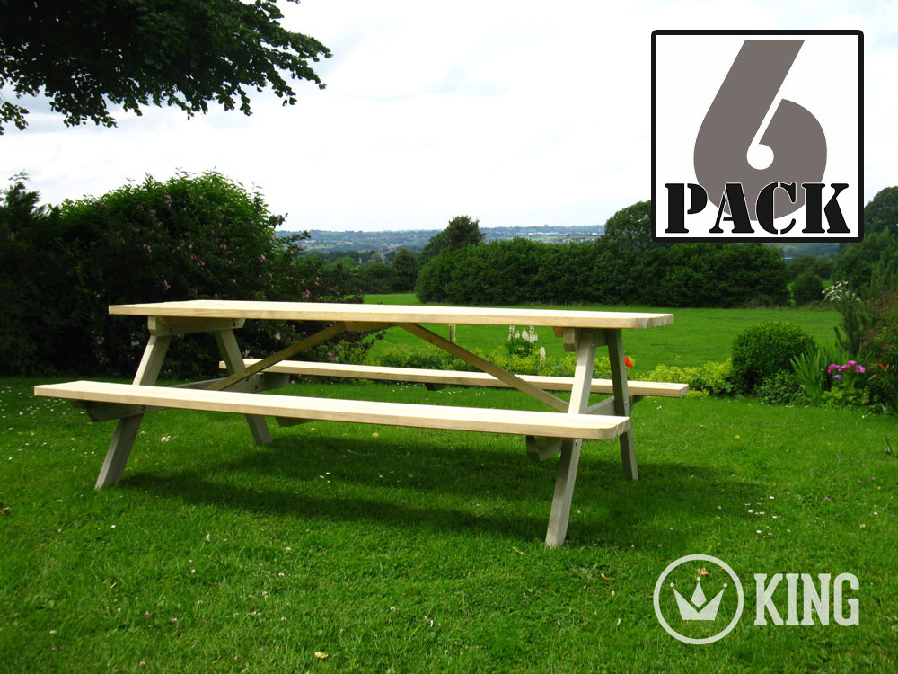 <BIG><B>KING &#174; PICKNICKTAFEL 240 cm / 4 cm dikte (6-PACK)</B></BIG>