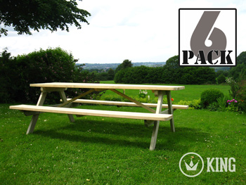 <BIG><B>KING PLUS ® PICKNICKTAFEL 240 cm / 4,2 cm dikte (6-PACK)</B></BIG>
