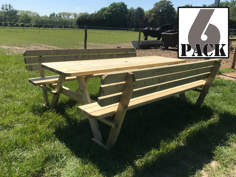 <BIG><B>TABLE DE PIQUE-NIQUE 240 cm / 4 cm d\'&eacute;paisseur avec dossiers (set de 6 tables)</B></BIG>