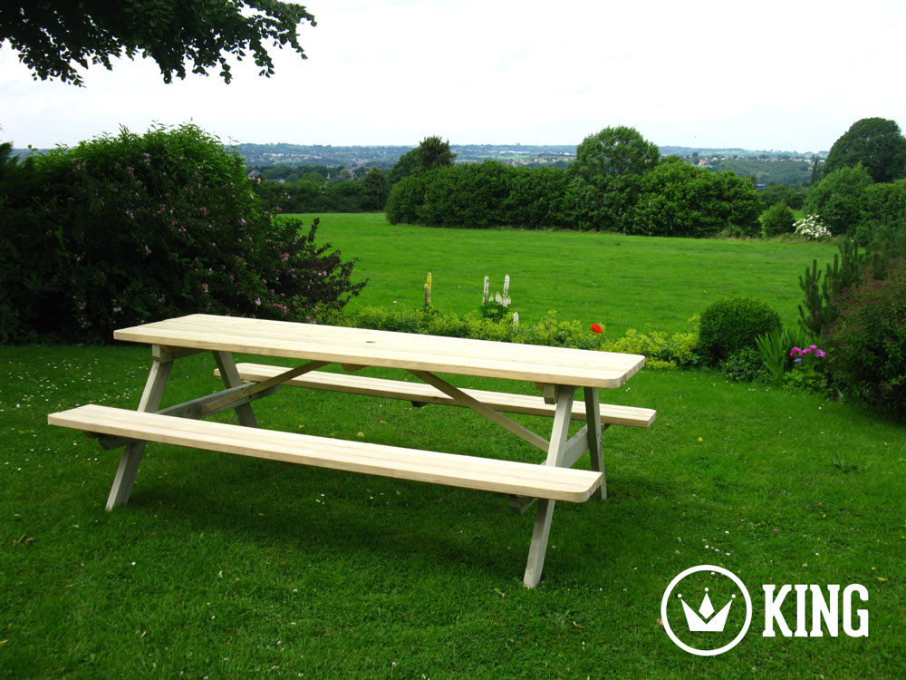 <BIG><B>ROYAL KING ® Picknicktafel 240 cm / 4.5 cm dikte</B></BIG>
