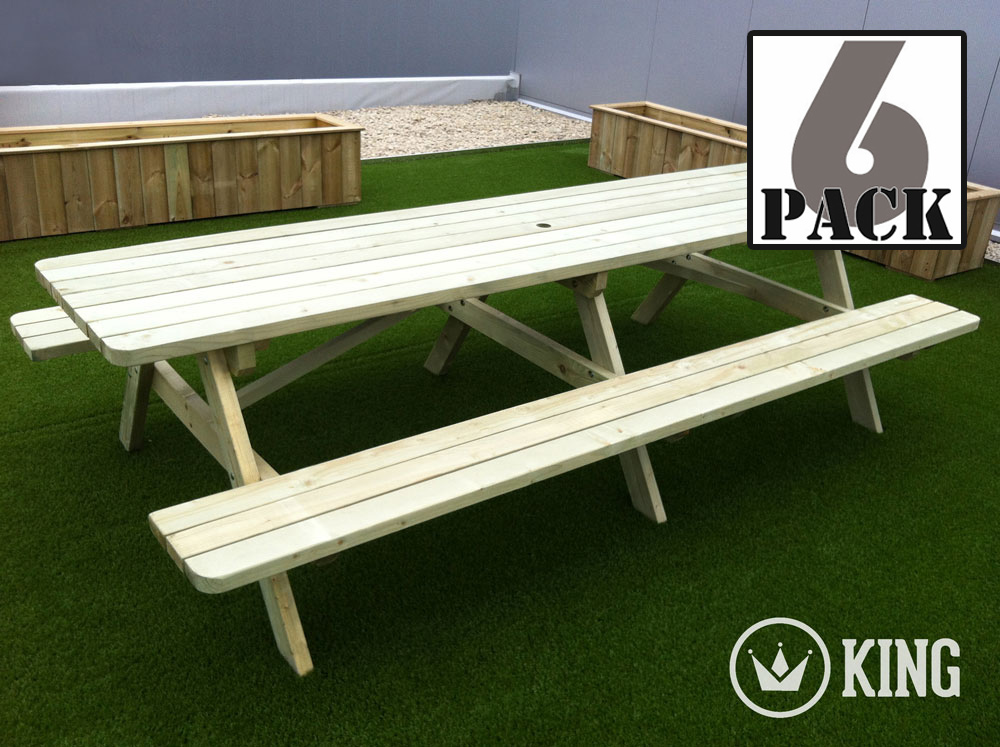 <BIG><B>ROYAL KING &#174; Picknicktafel 3.00m / 4.5 cm dikte (6-PACK)</B></BIG>